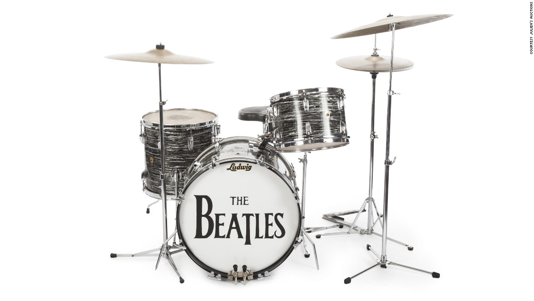 "Former Beatles drummer Ringo Starr netted $9.2 million after he and his wife, Barbara Bach, auctioned 1,300 pieces of memorabilia. Starr got more than $2 million for this 1963 Ludwig Oyster Black Pearl drum kit. It's the drum kit Starr played during 200 concerts and on most of the Beatles' earliest hits such as ""Can't Buy Me Love"" and ""I Want to Hold Your Hand,"" said Martin Nolan, executive director of Julien's Auctions."