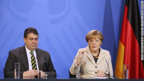 Germany's Vice Chancellor Sigmar Gabriel, seen here with Chancellor Angela Merkel, is the most high-profile western politician to accuse Saudi Arabia of condoning extremism.