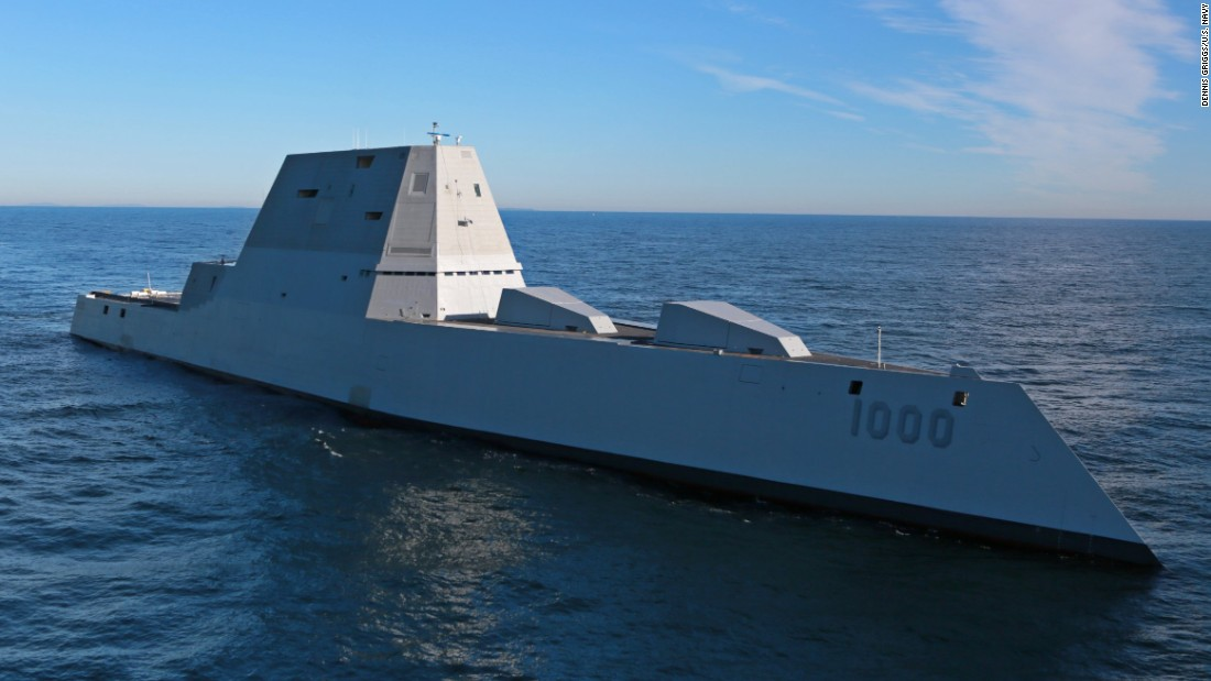 The USS Zumwalt, the Navy's biggest and most expensive destroyer ever built, heads out into the Atlantic Ocean on Monday, December 7. The ship is out at sea for the first time to undergo sea trials.