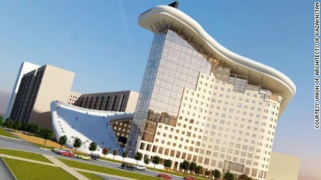 An artist's impression of the Slalom House which has been designed for the city of Astana in Kazakhstan.