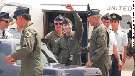 O'Grady acknowledges onlookers as he arrives in Italy after his June 1995 rescue.
