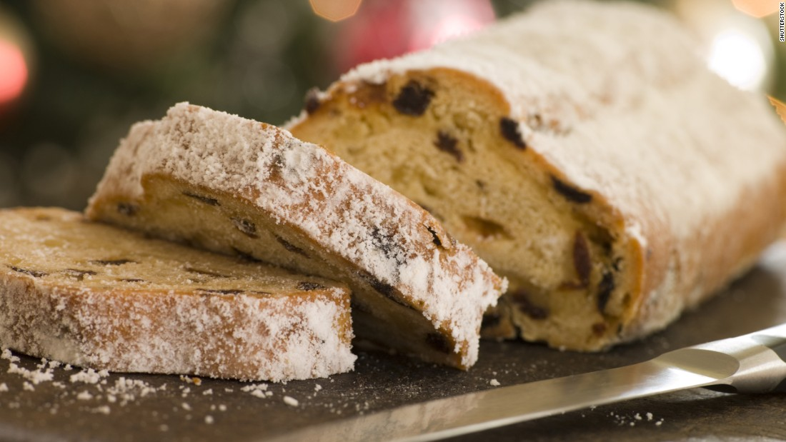 Stollen is Germany's addition to the fruitcake canon. It contains dried fruit and nuts and is dusted or glazed with sugar. The bread-like loafs are especially popular at Christmastime.