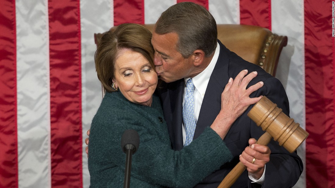 "John Boehner kisses House Minority Leader Nancy Pelosi after <a href=""http://www.cnn.com/2015/01/06/politics/house-speaker-boehner-vote/index.html"" target=""_blank"">he was elected to a third term</a> as House Speaker on Tuesday, January 6. <a href=""http://www.cnn.com/2015/09/25/politics/john-boehner-resigning-as-speaker/"" target=""_blank"">He retired</a> at the end of October."