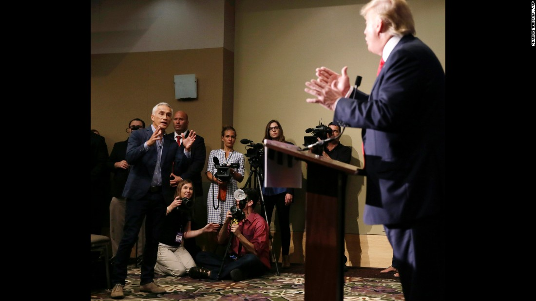 "Univision anchor Jorge Ramos, left, asks Republican presidential candidate Donald Trump a question about his immigration plan during a news conference Tuesday, August 25, in Dubuque, Iowa. Ramos <a href=""http://www.cnn.com/2015/08/25/politics/donald-trump-megyn-kelly-iowa-rally/index.html"" target=""_blank"">squabbled with Trump twice</a> during the event, and at one point a security officer ejected Ramos before he was allowed back in."