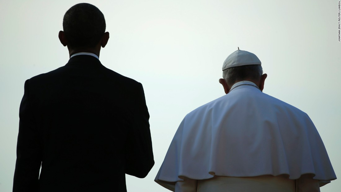 "President Obama stands with Pope Francis during a ceremony at the White House on Wednesday, September 23. The Pope was making <a href=""http://www.cnn.com/2015/09/22/us/gallery/pope-francis-visits-united-states/index.html"" target=""_blank"">his first visit to the United States,</a> spending time in Washington, New York and Philadelphia."