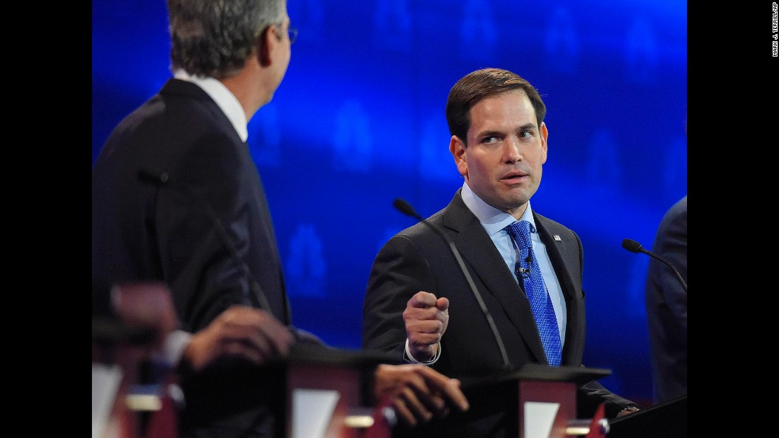 "U.S. Sen. Marco Rubio, right, argues with Jeb Bush during a <a href=""http://www.cnn.com/2015/10/28/politics/gallery/republican-debates-colorado/index.html"" target=""_blank"">Republican debate</a> in Boulder, Colorado, on Wednesday, October 28. Bush went after Rubio for missing votes in the Senate while running for the White House. ""Just resign and let someone else take the job,"" Bush said. Rubio fired back, saying Bush never took issue with Sen. John McCain missing votes when he was running for President. ""The only reason you're doing it now is because we're running for the same position."""