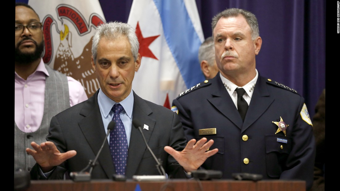 "Chicago Mayor Rahm Emanuel calls for peace Tuesday, November 24, after police <a href=""http://www.cnn.com/2015/11/24/us/laquan-mcdonald-chicago-shooting-video/"" target=""_blank"">released a graphic dashcam video</a> showing an officer shooting 17-year-old Laquan McDonald in October 2014. McDonald was a black teenager. The officer who shot him, Jason Van Dyke, is white. ""I believe this is a moment that can build bridges of understanding rather than become a barrier of misunderstanding,"" Emanuel said. ""I understand that the people will be upset and will want to protest when they see this video. We as a city must rise to this moment."""