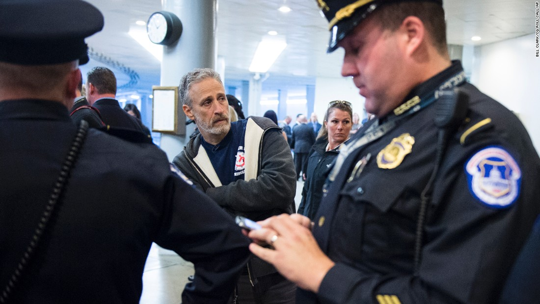 U.S. Capitol police ask comedian Jon Stewart to leave the Senate subway area on Thursday, December 3, as he lobbies lawmakers to approve the extension of the James Zadroga 9/11 Health and Compensation Act. Stewart has been urging U.S. lawmakers to renew the 2010 legislation, which provides health care benefits to first responders afflicted with illness as a result of the September 11 terrorist attacks. It is named for Zadroga, a New York City police officer who died of a respiratory disease in 2006 that was linked to his work at Ground Zero.