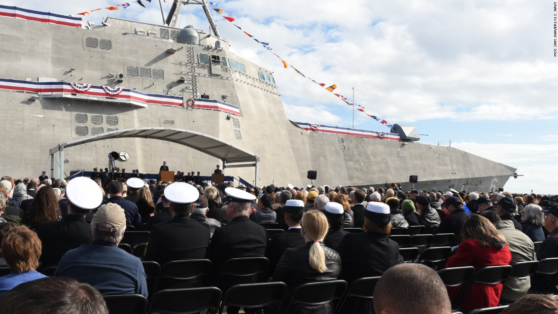 Secretary of the Navy Ray Mabus speaks in Gulfport, Mississippi, at the christening ceremony for the USS Jackson in December 2015.
