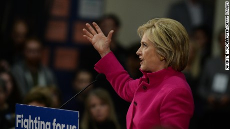 Democratic president candidate Hillary Clinton speaks at a town hall event at Woodbury School December 8, 2015 in Salem, New Hampshire.