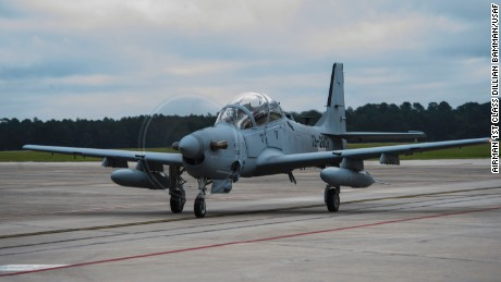 An A-29 Super Tucano on the flightline at Moody Air Force Base, Georgia. Aghan pilots and maintenance personnel have been training on the aircraft at the Georgia base.