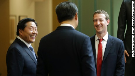 REDMOND, WA - SEPTEMBER 23:  Chinese President Xi Jinping (C) talks with Facebook Chief Executive Mark Zuckerberg (R) as Lu Wei, China's Internet czar, looks on during a gathering of CEOs and other executives at the main campus of Microsoft Corp September 23, 2015  in Redmond, Washington. Xi and top executives from U.S. and Chinese companies discussed a range of issues, including trade relations, intellectual property protection, regulation transparency and clean energy, according to published reports.  (Photo by Ted S. Warren-Pool/Getty Images)