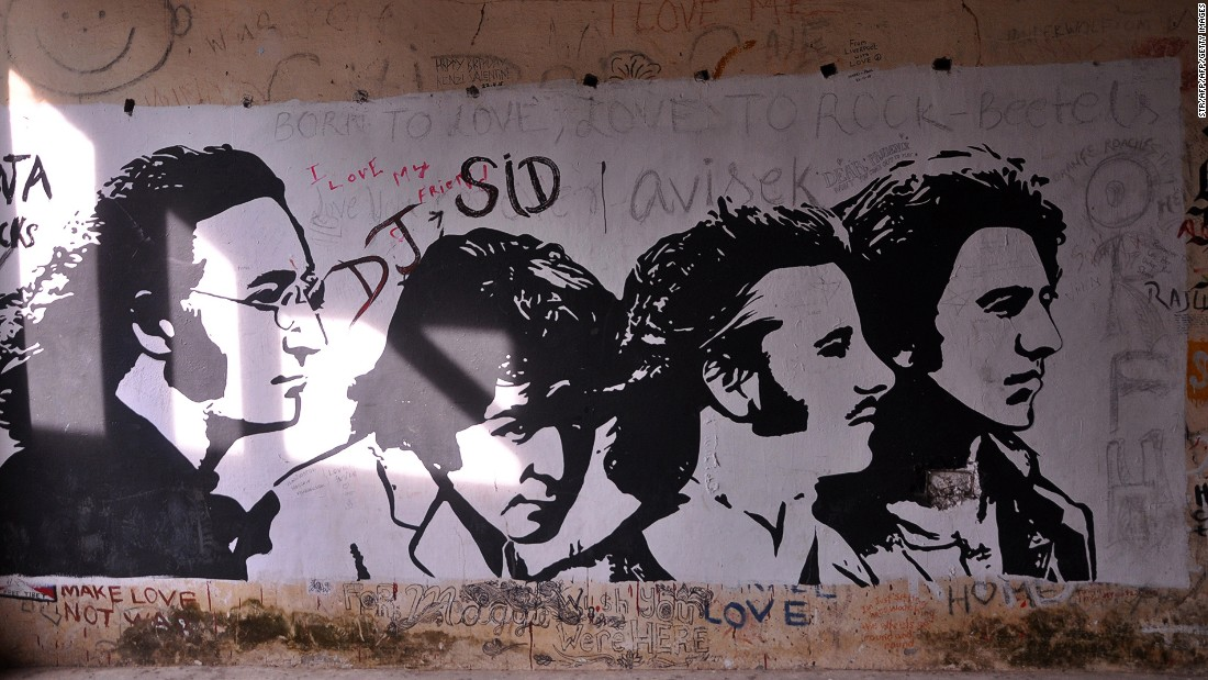 <strong>The Beatles: </strong>The meditation hall at the former ashram of the Maharishi Mahesh Yogi in Rishikesh is festooned with graffiti, much of it celebrating the Beatles' visit in 1968.