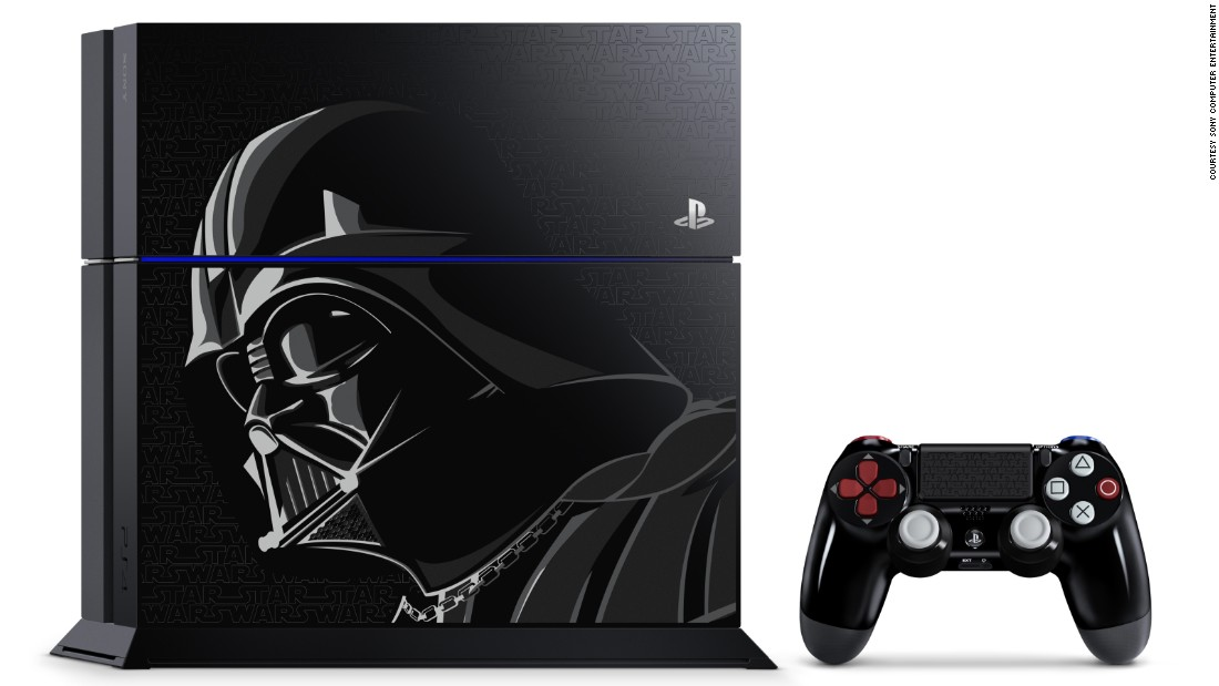 "This Limited Edition ""Star Wars Battlefront"" PS4 Bundle includes a custom 500GB limited edition PS4 system and a Dualshock 4 wireless controller inspired by Darth Vader. It's a must for PlayStation gamers who are ""Star Wars"" fans. List price: $349.99."