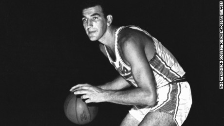 SYRACUSE, NY - 1961: Dolph Schayes #4 of the Syracuse Nationals poses for a portrait circa 1961 at the Onondaga War Memorial in Secaucus, New Jersey. NOTE TO USER: User expressly acknowledges and agrees that, by downloading and or using this photograph, User is consenting to the terms and conditions of the Getty Images License Agreement. Mandatory Copyright Notice: Copyright 1961 NBAE (Photo by The Stevenson Collection/NBAE via Getty Images)