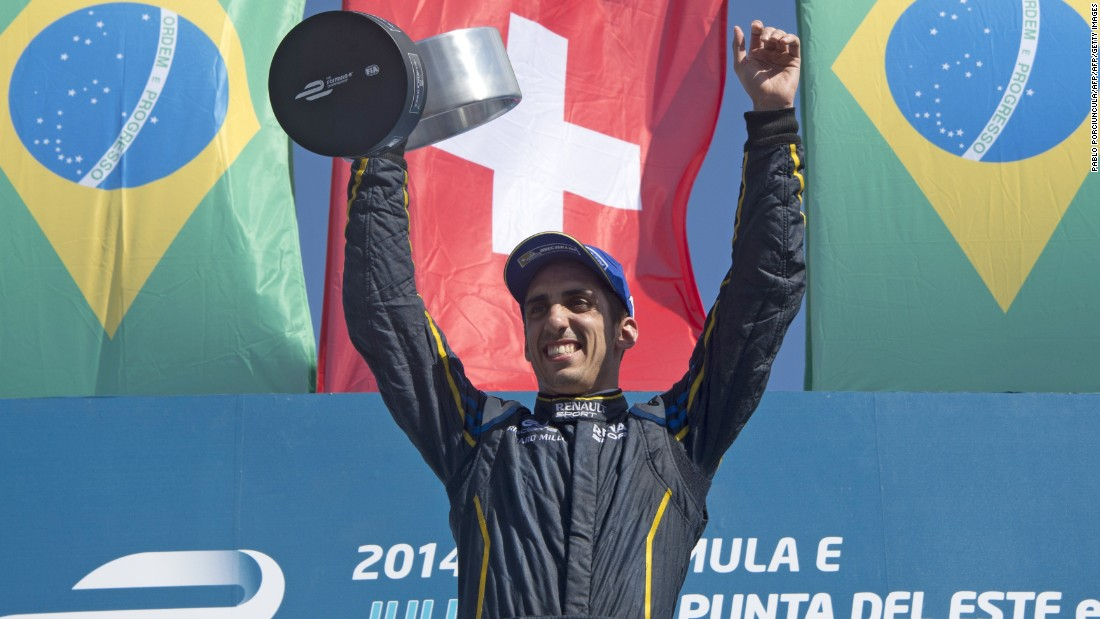 Swiss racer Sebastien Buemi notched his first win in the electric car racing series in Uruguay in 2014.