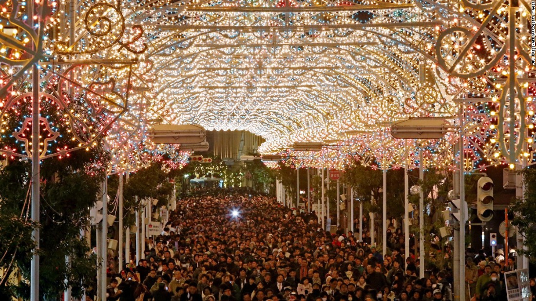 The festival, which illuminates a local shopping mall with 200,000 colorful bulbs, runs for 12 days. This year, 3.25 million people were in attendance.