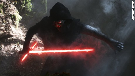 Kylo Ren, the lightsabered villain of the new film.