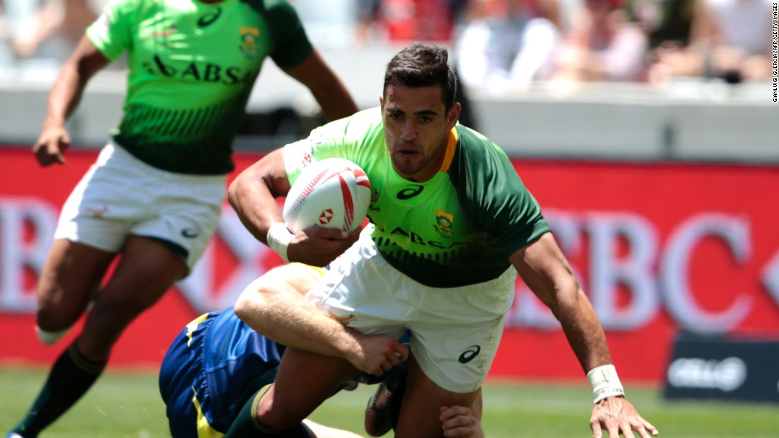 South Africa's Chris Dry goes over for a try during his side's quarterfinal win over Australia.