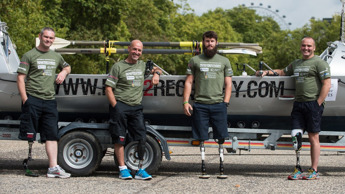 "Gallagher, left, lost his leg in Afghanistan in 2009.  Asked what advice he'd give people bogged down with life's problems, the former Irish Guardsman says: ""I've got not much empathy. People tend to wallow in a sea of self pity. Just man-up! Life throws stuff at you, but you've just got to take it on the chin and crack on with it."""
