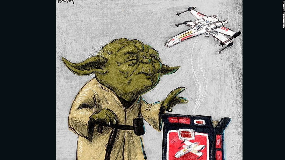 "This fun illustration of Yoda lifting an X-Wing toy recalls a scene in ""The Empire Strikes Back."""