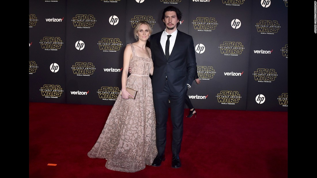 "Actor Adam Driver and his wife, Joanne Tucker. Best known for his role in HBO's ""Girls,"" Driver plays villain Kylo Ren in the new movie."