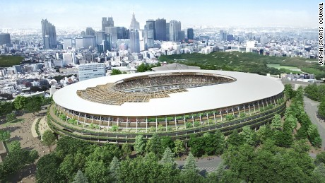 The winning concept by famed architect Kengo Kuma which is designed to resemble traditional Japanese temples.