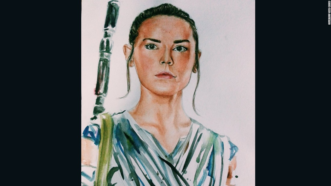 """Star Wars"" fans express their fandom sometimes through art, portraying the characters in new and different ways. Sri Rosli drew this sketch of Rey, one of the lead characters from the new movie ""Star Wars: The Force Awakens."""