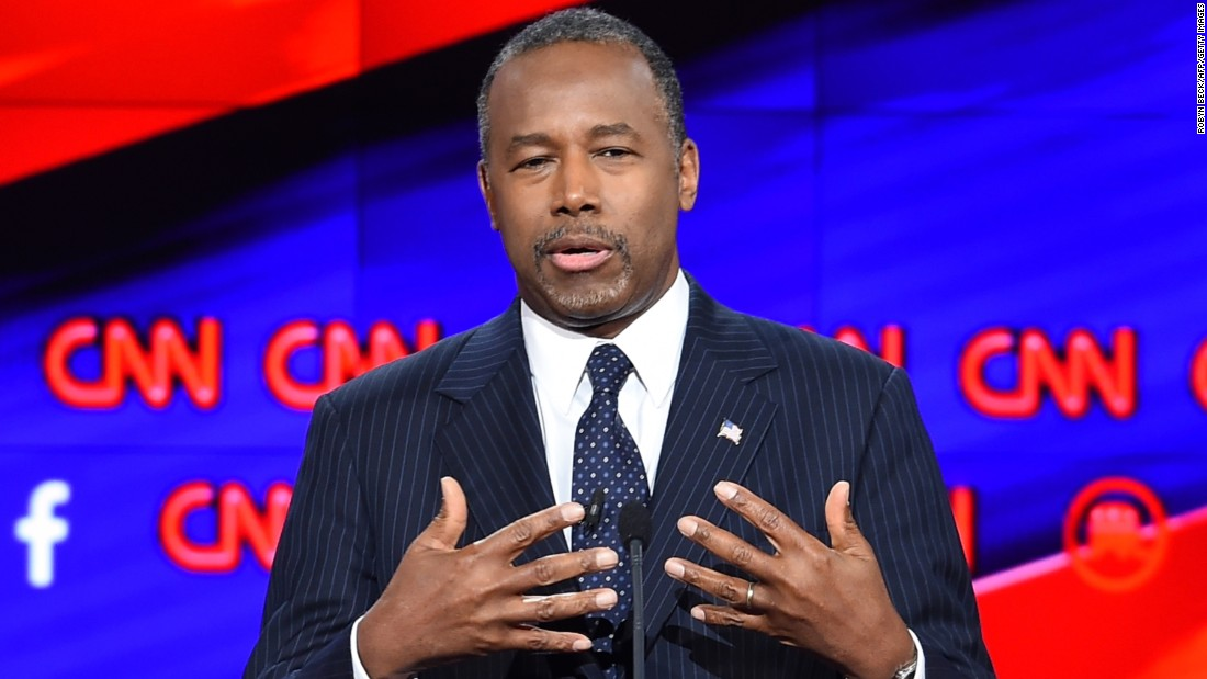 "Candidate Ben Carson speaks during the debate. ""As a pediatric neurosurgeon, I frequently faced life-and-death situations and had to come up with the right diagnosis, the right plan, and execute that plan frequently with other colleagues,"" Carson said. ""Right now, the United States of America is the patient. And the patient is in critical condition and will not be cured by political correctness and will not be cured by timidity."""
