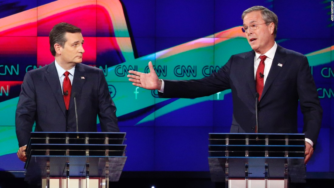 "Bush makes a point as Cruz looks on during the debate. Bush clashed with Trump often during the debate, at one point calling him a ""chaos candidate."""