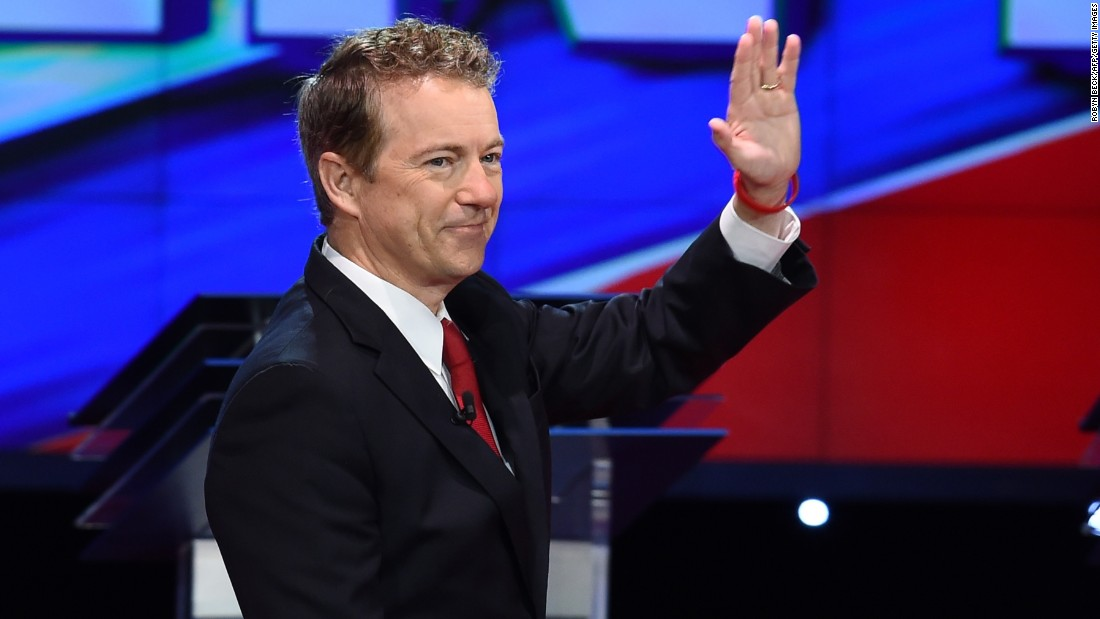 "Paul waves as he takes the stage before the start of the debate. ""I think we defeat terrorism by showing them that we do not fear them,"" said the junior U.S. senator from Kentucky. ""I think if we ban certain religions, if we censor the Internet, I think that at that point the terrorists will have won."""