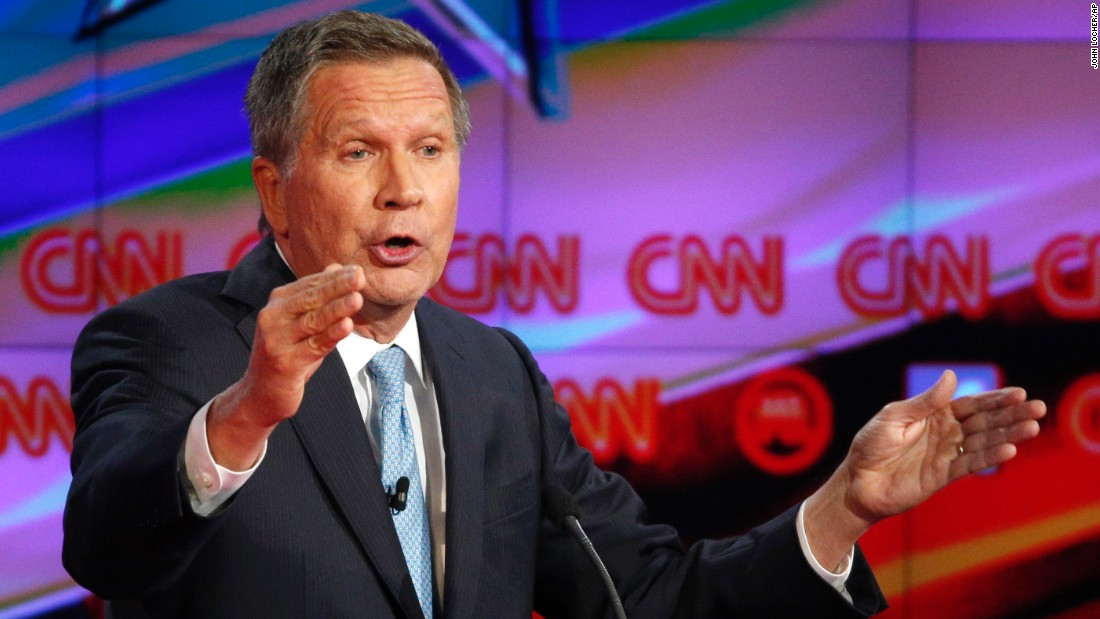 "Ohio Gov. John Kasich speaks during the debate. ""When we think about our country and the big issues that we face in this country -- creating jobs, making sure people can keep their jobs, the need for rising wages, whether our children when they graduate from college can find a job, protecting the homeland, destroying ISIS, rebuilding defense -- these are all the things that we need to focus on,"" Kasich said. ""But we'll never get there if we're divided. We'll never get there if Republicans and Democrats just fight with one another."""