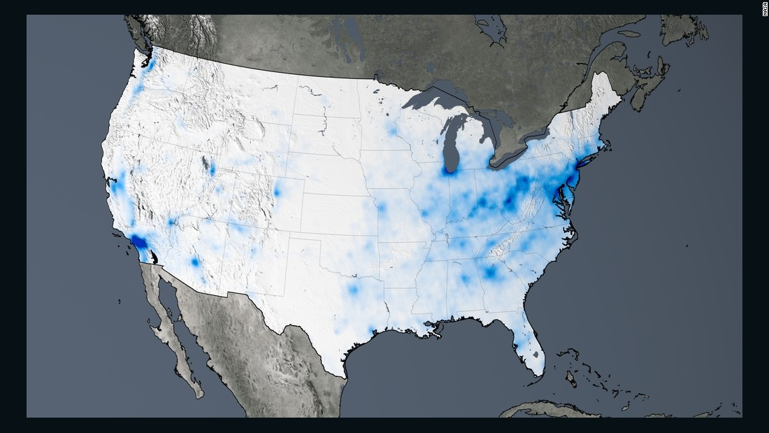 This trend map of the U.S. shows large decreases in nitrogen dioxide concentrations, between 20-50%, from 2005 to 2014. Only decreases are highlighted here.