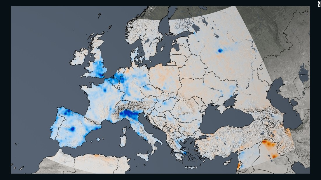 This trend map of Europe shows the change in nitrogen dioxide concentrations from 2005 to 2014. Nitrogen dioxide has decreased by as much as 50% in western Europe.