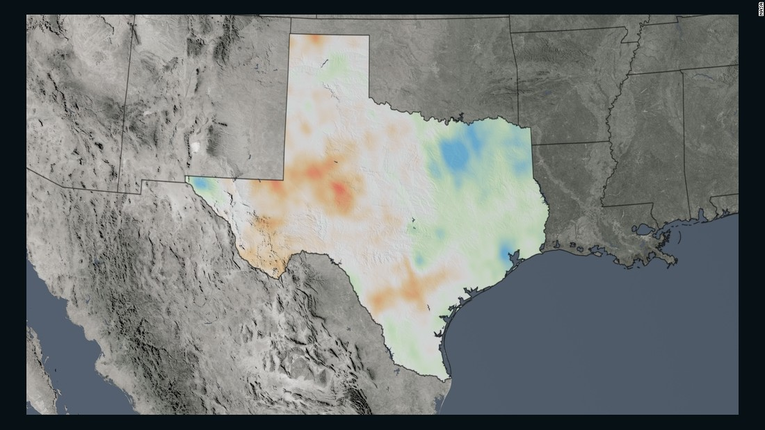 The trend map for Texas shows the percentage change in nitrogen dioxide concentrations from 2005 to 2014.