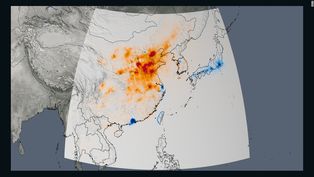 The trend map of East Asia shows the changes in nitrogen dioxide concentrations from 2005 to 2014. China, the world's growing manufacturing hub, saw an increase of between 20-50% in nitrogen dioxide, much of it occurring over the North China Plain. <br />Three major Chinese metropolitan areas -- Beijing, Shanghai, and the Pearl River Delta -- saw nitrogen dioxide reductions of as much as 40%.