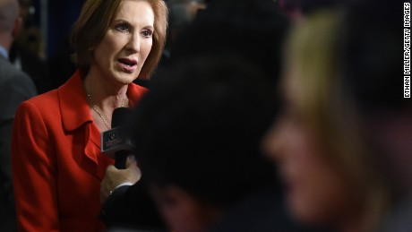 Republican presidential candidate Carly Fiorina talks to reporters in the spin room following the CNN presidential debate at The Venetian Las Vegas on December 15, 2015 in Las Vegas, Nevada.