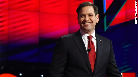 Republican presidential candidate Sen. Marco Rubio is introduced during the CNN presidential debate at The Venetian Las Vegas on December 15, 2015.