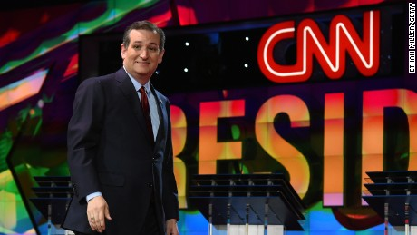 Republican presidential candidate Sen. Ted Cruz is introduced during the CNN presidential debate at The Venetian Las Vegas on December 15, 2015.