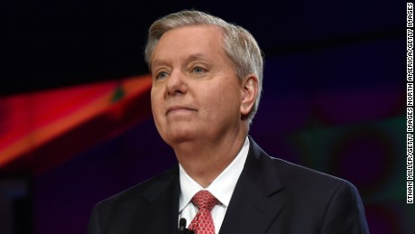 Republican presidential candidate Sen. Lindsey Graham is introduced during the CNN presidential debate at The Venetian Las Vegas on December 15, 2015.