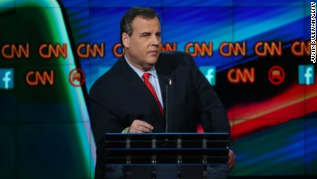 Republican presidential candidate New Jersey Gov. Chris Christie speaks during the CNN Republican presidential debate on December 15, 2015.