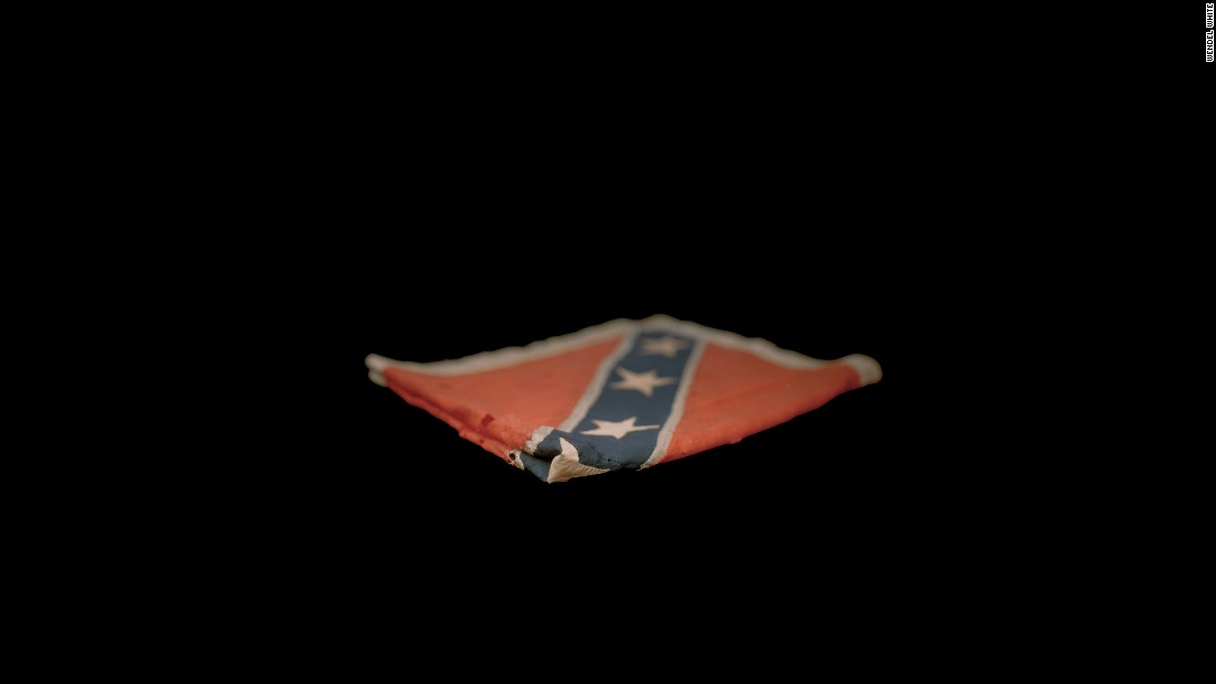 A Confederate flag that belongs to the Cape May Museum in New Jersey.