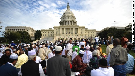 "Muslims pray on the west front of the US Capitol on September 25, 2009 in Washington, DC. The event ""Islam on Capitol Hill"" was held to pray ""for the soul of America"" and to show Islamic unity, according to organizers.  AFP PHOTO/Mandel NGAN (Photo credit should read MANDEL NGAN/AFP/Getty Images)"