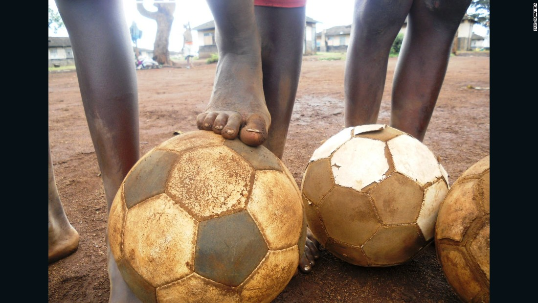 "Omwanda also notes there is a lot of positivity in Mathare, and a lot of passion and commitment, as is evident in this image of children playing soccer.<br />""It doesn't matter whether we have playing shoes or not. What matters is the passion and skills,"" he says."