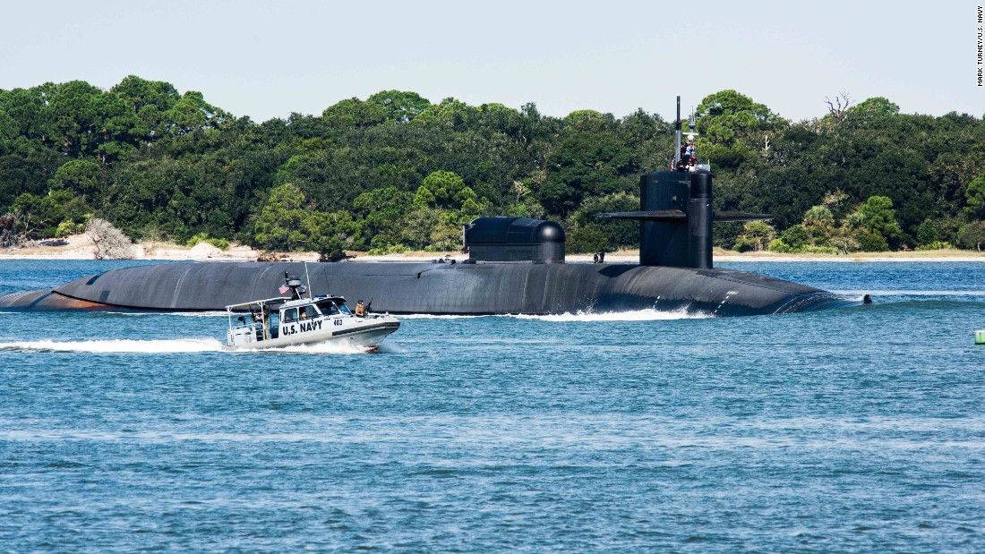 The Ohio-class guided-missile submarine USS Georgia (SSGN 729) departs Naval Submarine Base Kings Bay to conduct routine operations in October 2015.