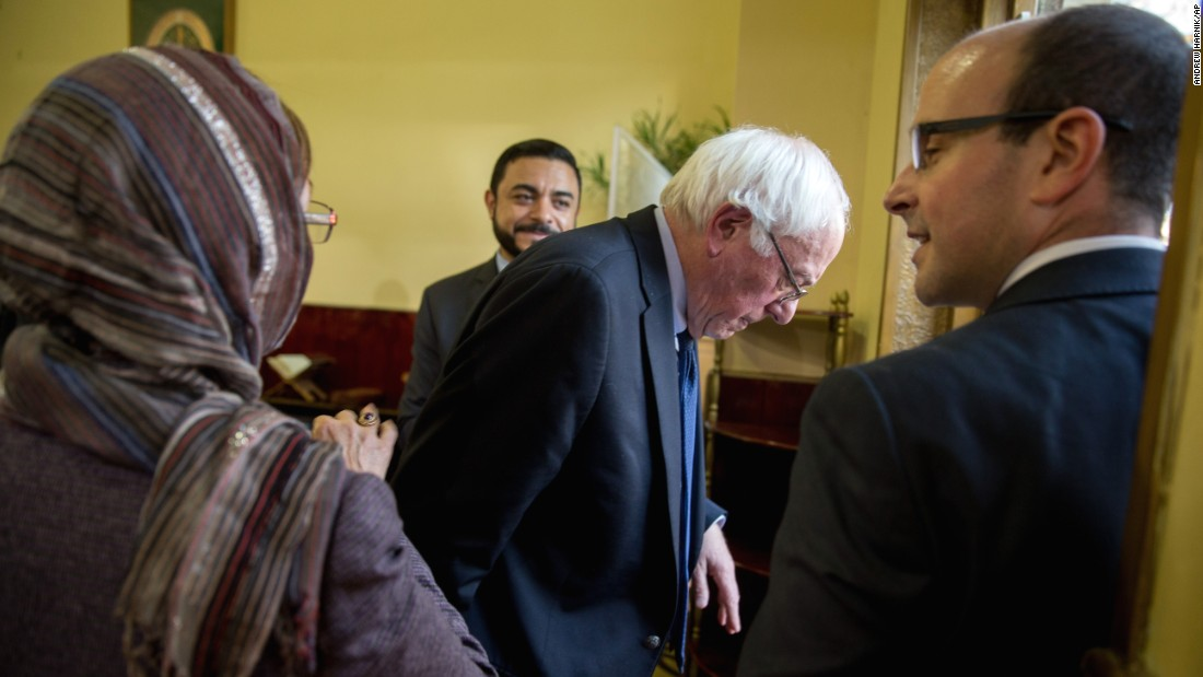 U.S. Sen. Bernie Sanders, who is seeking the Democratic Party's nomination, leaves a Washington mosque on Wednesday, December 16. Sanders attended an interfaith discussion on standing up to anti-Muslim rhetoric.