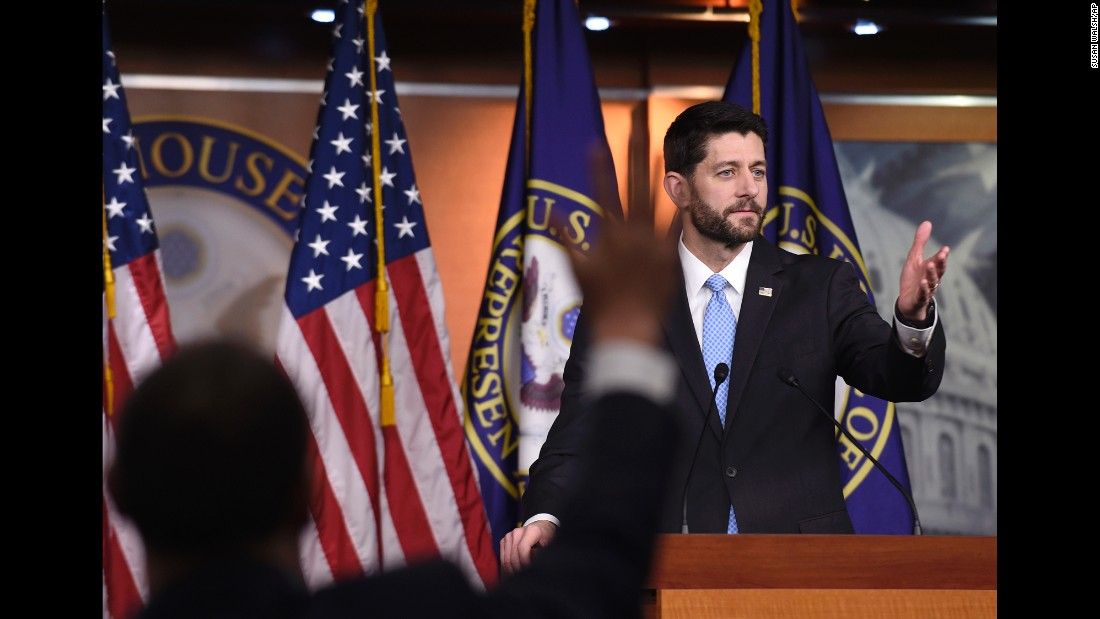 House Speaker Paul Ryan calls on a reporter during an end-of-the-year news conference in Washington on Thursday, December 17.