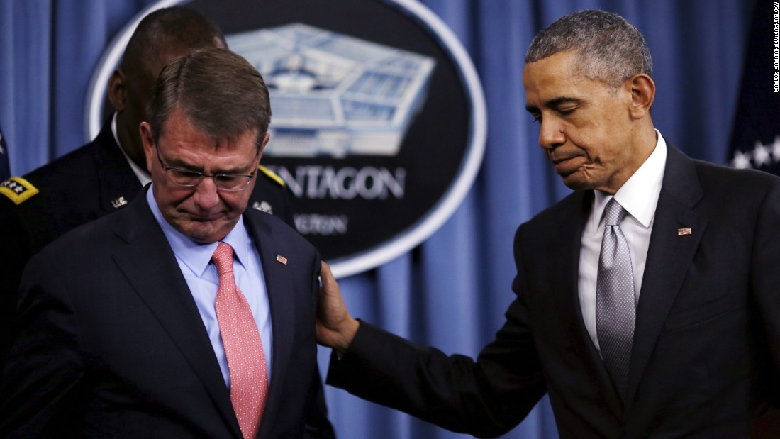 "U.S. President Barack Obama, right, leaves with Defense Secretary Ash Carter after <a href=""http://www.cnn.com/2015/12/14/politics/obama-pentagon-isis-strategy/index.html"" target=""_blank"">delivering a statement at the Pentagon</a> on Monday, December 14. Obama said the U.S.-led military coalition is hitting the ISIS militant group ""harder than ever."""