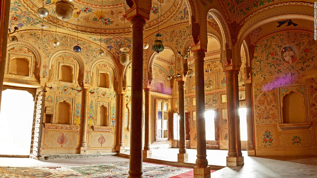"<strong>Shekhawati, Rajasthan: </strong>Some of the best preserved <a href=""/2015/12/21/travel/india-haveli-painted-mansions/index.html"" target=""_blank"">havelis, India's lavishly decorated heritage mansions</a>, can be found in Rajasthan's Shekhawati region. Once built as a means of boasting of one's wealth, the facades and interiors of havelis are covered with exquisite and colorful wall murals that depict everything from the owner's travel memoirs to folk mythology. <a href=""/2016/05/03/hotels/india-himalayan-hideaways/index.html"" target=""_blank"">READ: Wonder walls: Inside India's exquisitely decorated haveli mansions</a>"