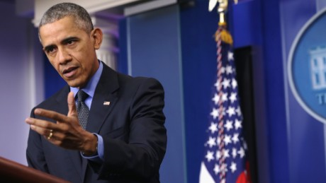President Barack Obama speaks to the media during his year end news conference in the Brady Briefing Room at the White House before traveling to San Bernardino, California then on to Hawaii for Christmas vacation.